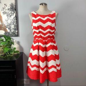 Taylor pleated chevron jacquard fit flare dress 8